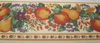 Wallpaper Border Country Kitchen Fruit Flowers Cream Wall Orange Trim