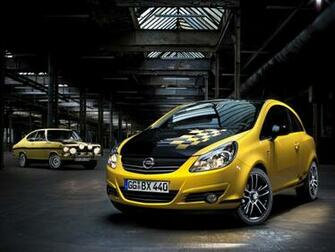 New Opel Corsa Color Race sprints with checkered flag war painting