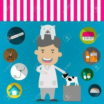 Veterinary Flat Icon Set Veterinary Banner Background Poster