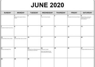 June 2020 Calendar with Holidays Monthly calendar template