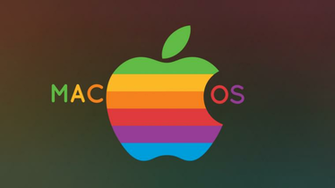 Mac OS Wallpaper with Old Rainbow Logo by Acer pseudoplatanus on