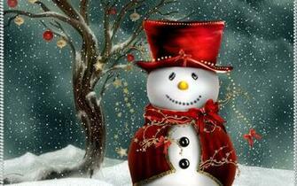 Cute Christmas Snowman computer desktop wallpaper