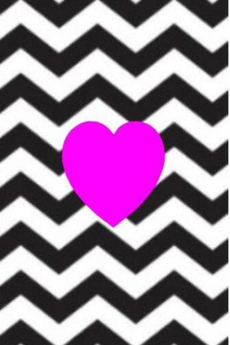 Pink heart and black and white chevron wallpaper pattern phone