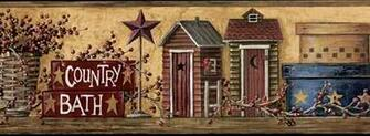 Outhouses Bathroom Primitive   Wallpaper Border Wallpaper inccom