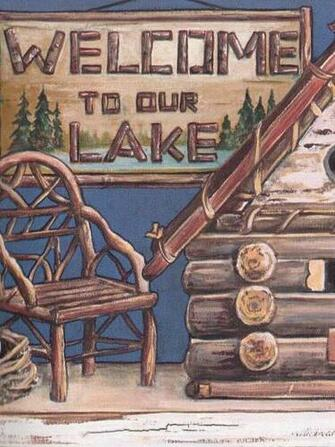Our Lake Log Cabin Shelf Theme Sale 8 95 Wallpaper Border 510 eBay