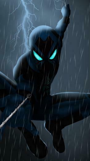 Spider man 2099 rain artwork dark 1080x1920 wallpaper