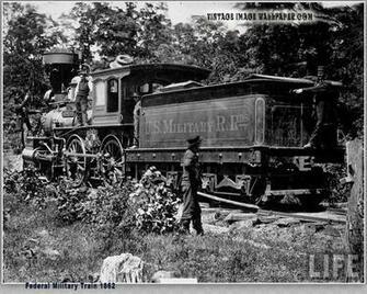 Vintage Civil War Image   Federal Military Train 1862