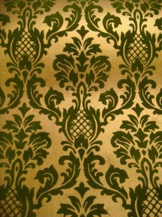 70 039 s Vtg Flocked Gold Brocade Wallpaper Deadstock 2 Rolls 140 Sq