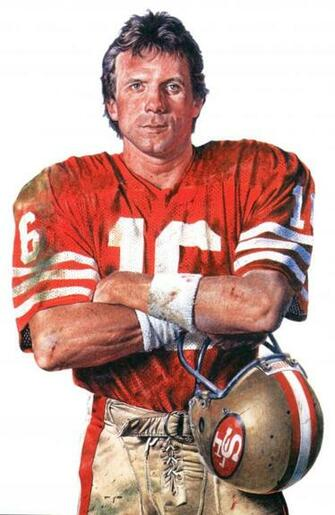 Portrait of SF 49er QB Joe Montana by Merv Corning Joe