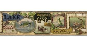 Fishing Signs Wallpaper Border Bait Bass Trout Tackle HTM48441B