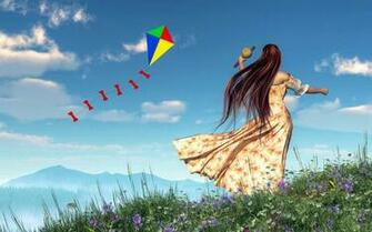 Flying A Kite Digital Art by Daniel Eskridge