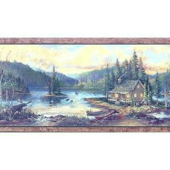 Lake Cabin Wallpaper Border
