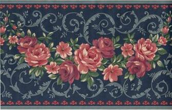 Rose Flower Floral Scroll Leaf Navy Blue Burgundy Wall paper Border