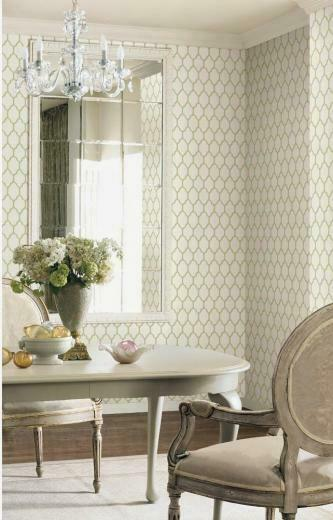 Green and White Moroccan Trellis Wallpaper from Casabella Collection