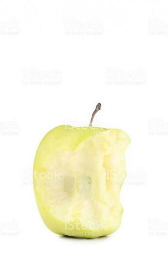 Green Apple Stub Isolated On White Background Stock Photo
