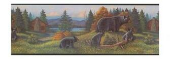 Black Bear Lodge Wallpaper Border WL5627B Rustic Log Cabin Cub
