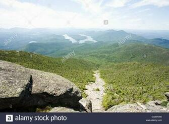 USA New York State View of Adirondack Mountains with Lake Placid