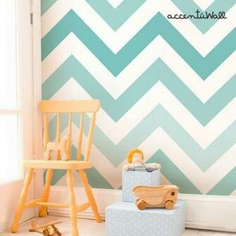 Chevron Teal Peel and Stick Fabric Wallpaper Repositionable
