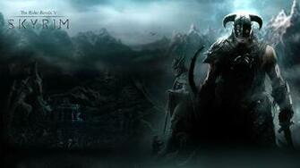 skyrim Warrior Mountains Dragon Helmet Wallpaper Background 4K