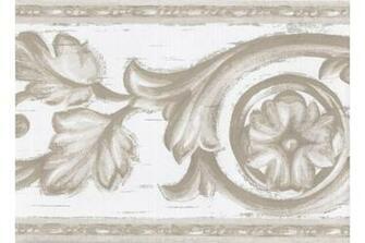 Home Olive Green White Molding Swirls Wallpaper Border
