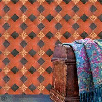 Removable Wallpaper  Tuscan Tile  Peel Stick Self Adhesive Fabric