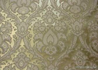 1970s Vintage Flocked Wallpaper Metallic Gold and white flocked