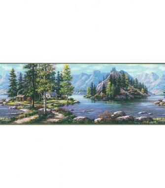 Bunyan Blue Mountain Cabin Wallpaper Border Jo Ann