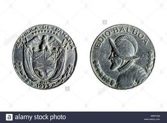 front and back of panamanian coin of half balboa on white