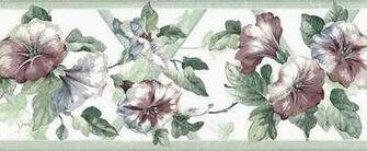 Morning Glories Trellis Wallpaper Border Green Rose Cottage UK