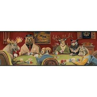 Lodge Poker Game Wallpaper Border Home Kitchen