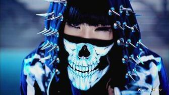 wallpaper 2ne1 minzy kpop mask skull spikes chrome hood hat fangs