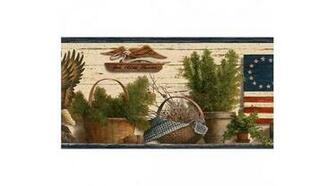 Home Blue Red and Green Lodge Flag Wallpaper Border
