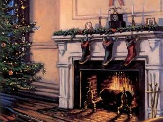 Christmas Fireplace And Stockings   Christmas Scenes