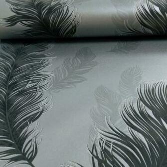 Sirius Feather Pattern Bird Motif Metallic Textured Wallpaper 673602