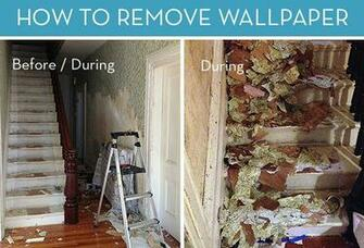 and After How to Remove Wallpaper Curbly DIY Design Community