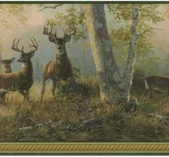 Green 418B349 Deer Wallpaper Border   Traditional WallpaperBorders