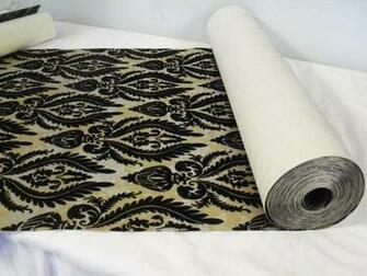 VTG Black Flocked Gold Silver Brocade Wallpaper Double Roll 50 S