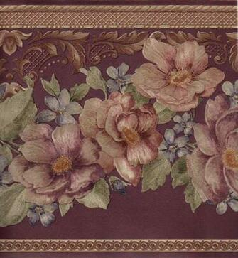 Burgundy Reflective Gold Silk Rose Flower Floral Wall paper Border