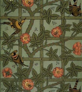 Illustration William Morris Trellis wallpaper design 1864