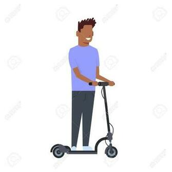 African Boy Riding Electric Kick Scooter Over White Background