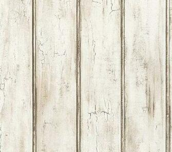 Distressed White Beadboard Faux Wood Wallpaper   Aged Brown Patina