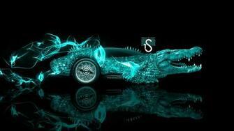 Fantasy Crocodile Car 2014 Azure Neon HD Wallpapers design by Tony