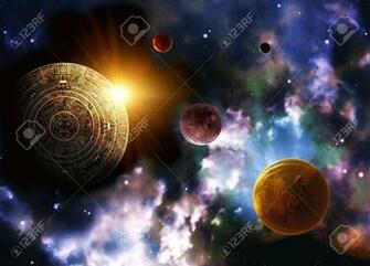 Maya Prophecy Horizontal Background Space Scene Stock Photo