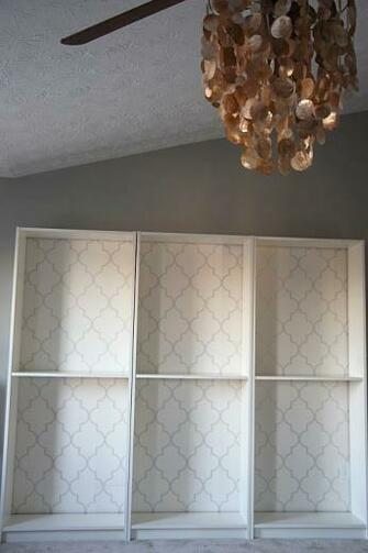 wallpapered bookcases