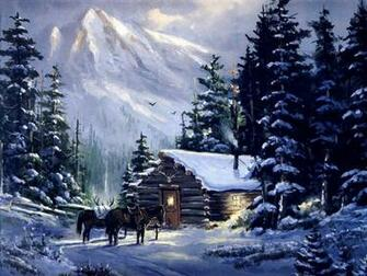 art mountain Mountain cabin Nature Winter HD Desktop Wallpaper
