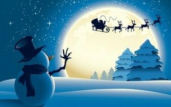 Snowman Santa Claus Christmas HD Wallpaper