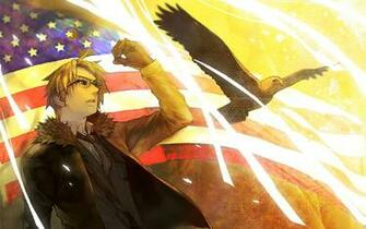 Birds eagles flags USA anime American Flag Axis Powers