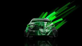 jdm back anime bleach aerography car 2015 green neon effects 4k