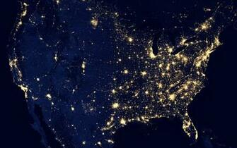 grid map usa united states power electricity night lights space