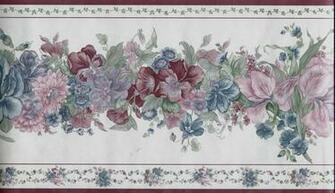 Traditional Blue and Burgundy Floral on White Wallpaper Border eBay